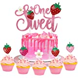 25pcs Sweet One 1st Birthday Party Decorations,Strawberry Theme Cake Cupcake Toppers for Berry Sweet First Birthday Party Sum