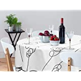 OinkieMoo Round Tablecloth 60 inch - Modern Elegant Polyester Fabric Table Cloth Cover for Kitchen Tables and Outdoor Use. Wh