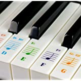 Piano Stickers for 49 / 61/ 76 / 88 Key Keyboards, Transparent and Removable