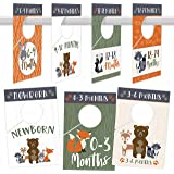 7 Woodland Baby Nursery Closet Organizer Dividers for Girls or Boys Clothing, Grey Age Size Hanger Organization for Kid, Todd