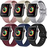 [2 PACK] Bands Compatible with Apple Watch Bands 44mm 42mm 40mm 38mm for Women Men, Replacement Strap with Classic Buckle for
