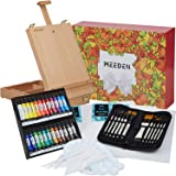 MEEDEN 47 Pcs Acrylic Painting Set - Solid Beech-Wood Studio Sketch Box Easel, 24×12ML Acrylic Paints, Canvas Panels, Acrylic
