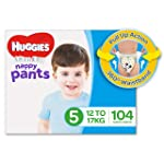 Huggies Ultra Dry Nappy Pants, Boys, Size 5 Walker (12-17kg), 104 Count