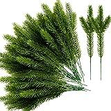 Alpurple 45 Packs Artificial Pine Needles Branches Garland-10.2x2.5 Inch Green Plants Pine Needles,Fake Greenery Pine Picks f