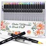 Ohuhu Watercolor Brush Markers Pen Set of 20, Water Based Drawing Marker Brushes W/A Water Coloring Brush, Water Soluble for