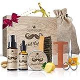 Beard Care Gift Kit for Men/Dad/Husband GLAMADOR 8-in-1 Beard Grooming Kit, ProfessionalBeardTrimmingSet, Beard Growth Kit