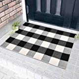 Area Rug Black White and Gray Classic Plaid Runner Rugs Hand Woven Stain Resistant Collection Area Rug Indoor Outdoor Floor M