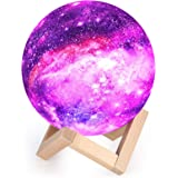 Moon Lamp Kids Night Light Galaxy Lamp 5.9 inch 16 Colors LED 3D Star Moon Light with Wood Stand, Touch & Remote Control USB