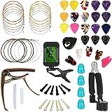 Hricane Guitar Accessories Kit With Guitar Strings, Tuner, Capo, String Winder&Cutter, Picks, Pick Holder, Bridge Pins, Guita