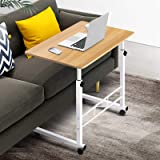 Mobile Laptop Desk Adjustable Height 360°Rotation Wooden Table Top Metal Frame Notebook Computer Stand Up Cart Study Work Din