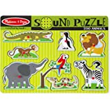 "Melissa & Doug 727 Zoo Animals Sound Puzzle - Wooden Peg Puzzle with Sound Effects (8 pcs), 8.75"" x 11.75"" x 1"" Assembled"