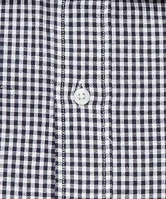 Cotton Linen Gingham Wide Spread Collar Shirt 1111-176-0633: Navy
