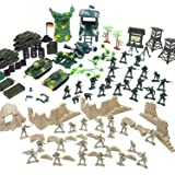 Flexzion Military Action Figures Playset, Army Men Toy Model Kit, Soldier Force Giftset, War Building Accessories Scene Games