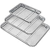 Wildone Baking Sheet with Rack Set (3 Pans + 3 Racks), Stainless Steel Baking Pan Cookie Sheet with Cooling Rack, Non Toxic &