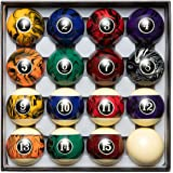 Blackfox Pool Balls, Marble Style, Billiard Balls Regulation Size, with 16 Balls, Balanced Pool Table Balls - Professional Po