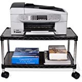 ZBRANDS // Printer Cart, Regular Size, Mobile Fax Stand with Swivel Wheels, Black Finish, 2 Tiers Heavy Duty (Regular)