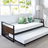 Zinus Ironline Twin Day Bed | Premium Metal Bed Frame, Steel Slats, Roll Out Trundle, Easy Assembly