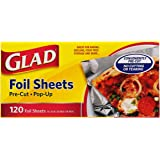 Glad Food Prep & Storage BB11997 | Pre Pop Up Aluminum Foil Sheets for Baking, Grilling, and Food Prep, 120 Count, | No Cutti