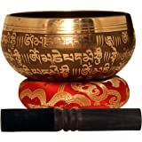 "Large Tibetan Singing Bowl Set-Meditation Symbols Printed 5"" Singing Bowl With Wooden Mallet & Cushion For Prayer/Meditation/"
