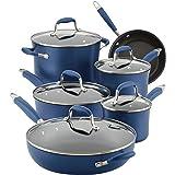 Anolon Advanced Hard Anodized Nonstick Cookware Pots and Pans Set, 11 Piece, Indigo