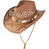 Rising Phoenix Industries Cute Comfy Flex Fit Woven Beach Cowboy Hat, Western Cowgirl Hat with Wooden Beaded Hatband