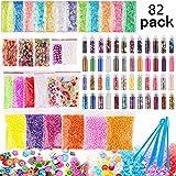 Candygirl Slime Supplies Kit,82 pack Slime Stuff Charm Include Foam Balls, Fishbowl Beads, Glitter, Fruit Slices, Pearls, Chr