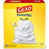 Glad® ForceFlex Tall Kitchen Drawstring Trash Bags – 13 Gallon White Trash Bag, Unscented – 120 Count (Package May Vary)