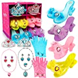 Princess Dress Up Shoes and Jewelry Boutique Little Girl Princess Play 4 Pairs of Play Shoes and Pretend Jewelry Toys Accesso