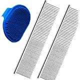 2 Pack Pet Hair Grooming Comb and 1 Pack Dog Bath Brush - Pet Stripping Dematting Combs with Rounded Teeth and Non-Slip Grip