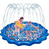 """QDH Splash Pad for Kids, 68"""" Outdoor Summer Splash Mat with Alphabet for Toddlers, Babies, and 1-12 Years Old Boys & Girls, W"""