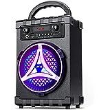 JYX Portable Bluetooth Speaker Karaoke Machine, 7W Subwoofer Heavy Bass Wireless with Light, Support FM Radio, REC, USB/TF Ca