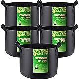 VIVOSUN 5-Pack 3 Gallon Plant Grow Bags, Premium Series Thichkened Non-Woven Aeration Fabric Pots w/Handles - Reinforced Weig