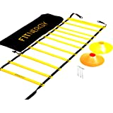 F1TNERGY Speed and Agility Ladder Training Equipment Yellow 12 Rung Ladder Free Carrying Bag + 10 Speed Cones (5 Orange + 5 Y