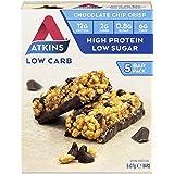 Atkins Chocolate Chip Crisp Bars | Keto Friendly Bars | 5 x 37g Low Carb Chocolate Bars | Low Carb, Low Sugar, High Protein,