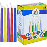 (2) - 2-Pack Colourful Chanukah Candles - Standard Size Fits Most Menorahs - Premium Quality Wax - Assorted Colours - 2 x 44