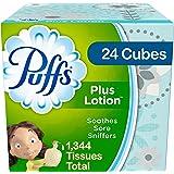Puffs Plus Lotion Facial Tissues, 24 Cube Boxes, 56 Tissues per Box