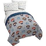 Jay Franco Harry Potter Hogwarts Crew 4 Piece Twin Bed Set - Includes Reversible Comforter & Sheet Set Bedding - Super Soft F