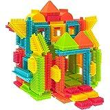 PicassoTiles PTB120 120pcs Bristle Shape 3D Building Blocks Tiles Construction Toy Set Learning Playset STEM Toy Set Educatio