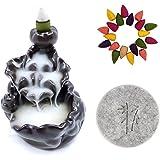 CrossZen Backflow Incense Burner, Ceramic Incense Holder Handmade Waterfall Incense Cones Holder Burner Set, Lotus Pond Cense