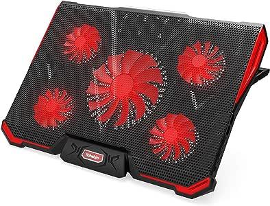 Nobebird 冷却ファン ノートパソコン 冷却パッド 冷却台 ノートPCクーラー クール 超静音 7段階角度調整 スタンド 折りたたみ 五つ冷却ファン 2口USBポート 17インチ型まで対応 ps3 ps4 冷却 LED搭載 風量調節可 …