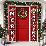Trooer Christmas Porch Sign, Merry Christmas Banner Indoor Outdoor Christmas Decorations New Year Black Red Buffalo Plaid Han
