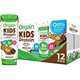 Orgain Organic Kids Protein Nutritional Shake, Chocolate - Great for Breakfast & Snacks, 26 Vitamins & Minerals, 10 Fruits &