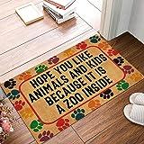 Joelmat Hope You Like Animals and Kids Because It is A Zoo Inside Entrance Non-Slip Indoor Rubber Door Mats for Front Door/Ba