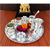 NOBILITY Silver Plated Pooja thali Set 12 Inch for Festival Ethnic Puja Thali Gift for Diwali, Home, Temple, Office, Wedding