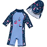 Baby Boy Sunsuits UPF 50+ One Piece 3/4 Sleeves Swimsuits Zipper with Sun Hat