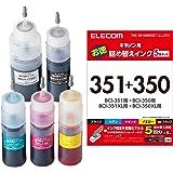エレコム 詰め替え インク  Canon キャノン BCI-350351対応 5色キット(5回分) リセッター付属 THC-351350RSET     【お探しNo:C117】 THC-351350RSET