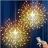 DenicMic 2Pcs Starburst Lights 200 LED Firework Lights Copper LED Lights, 8 Modes Fairy Lights with Remote, Hanging Ball Ligh