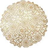 VUDECO Round Gold Placemats Set of 6 Elegant Fancy Charger for Dining Table Holiday Wedding Decorative Placemats Charger Tabl