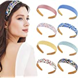 8 Pieces Fabric Plain Headbands Satin Flower Headbands 2.5 cm Ribbon Non-slip Wide Hairband Elastic Plastic Colorful DIY Head