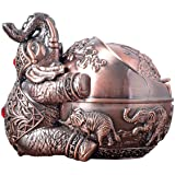 Vintage Decorative Windproof Ashtray with Lid for Cigarettes Metal Portable Cigarette Ashtray Odor Indoor Outdoor Hand Carved